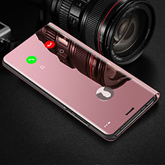 Leather Case Stands Flip Mirror Cover Holder L02 for Huawei Y8p Rose Gold