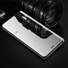 Leather Case Stands Flip Mirror Cover Holder L02 for Huawei Y8p Silver