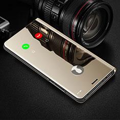 Leather Case Stands Flip Mirror Cover Holder L02 for Motorola Moto G8 Plus Gold