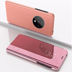 Leather Case Stands Flip Mirror Cover Holder L02 for OnePlus 7T Rose Gold