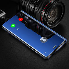 Leather Case Stands Flip Mirror Cover Holder L02 for Oppo Reno4 Pro 5G Blue