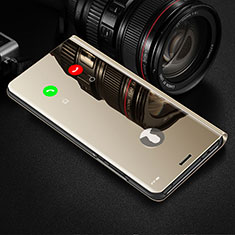 Leather Case Stands Flip Mirror Cover Holder L02 for Oppo Reno4 Z 5G Gold