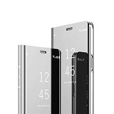 Leather Case Stands Flip Mirror Cover Holder L02 for Xiaomi Mi 10T Lite 5G Silver