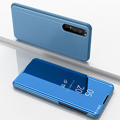 Leather Case Stands Flip Mirror Cover Holder L03 for Sony Xperia 1 II Blue
