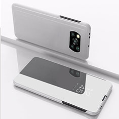 Leather Case Stands Flip Mirror Cover Holder L03 for Xiaomi Poco X3 NFC Silver