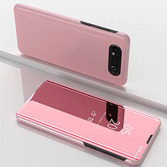 Leather Case Stands Flip Mirror Cover Holder M01 for Samsung Galaxy A80 Rose Gold