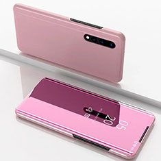 Leather Case Stands Flip Mirror Cover Holder M01 for Samsung Galaxy A90 5G Rose Gold