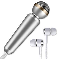 Luxury 3.5mm Mini Handheld Microphone Singing Recording M02 Silver