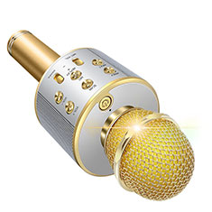 Luxury 3.5mm Mini Handheld Microphone Singing Recording M06 Gold
