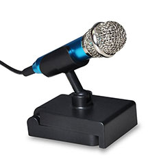 Luxury 3.5mm Mini Handheld Microphone Singing Recording with Stand for Apple MacBook Pro 13 2020 Blue