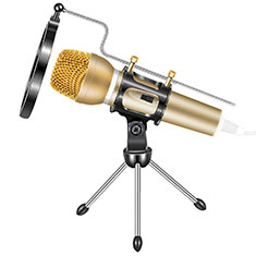 Luxury 3.5mm Mini Handheld Microphone Singing Recording with Stand M03 for Apple MacBook Pro 13 2020 Gold