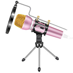 Luxury 3.5mm Mini Handheld Microphone Singing Recording with Stand M03 for Apple MacBook Pro 13 2020 Pink
