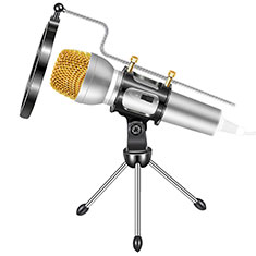 Luxury 3.5mm Mini Handheld Microphone Singing Recording with Stand M03 Silver
