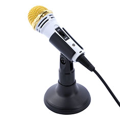 Luxury 3.5mm Mini Handheld Microphone Singing Recording with Stand M07 White