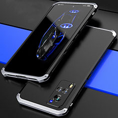 Luxury Aluminum Metal Cover Case 360 Degrees for Vivo X60 5G Silver and Black