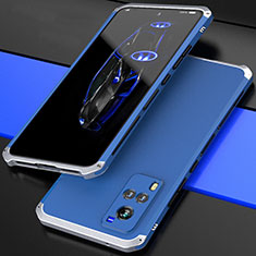 Luxury Aluminum Metal Cover Case 360 Degrees for Vivo X60 5G Silver and Blue