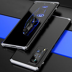 Luxury Aluminum Metal Cover Case 360 Degrees for Vivo X60 Pro 5G Silver and Black