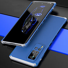 Luxury Aluminum Metal Cover Case 360 Degrees for Vivo X60 Pro 5G Silver and Blue