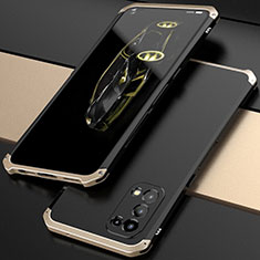 Luxury Aluminum Metal Cover Case 360 Degrees M01 for Oppo Reno5 5G Gold and Black