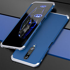 Luxury Aluminum Metal Cover Case for Xiaomi Redmi K30 5G Silver and Blue