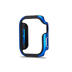 Luxury Aluminum Metal Frame Cover Case for Apple iWatch 5 44mm Blue and Black