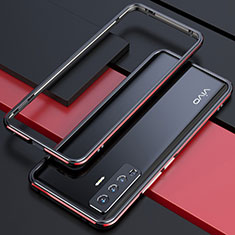 Luxury Aluminum Metal Frame Cover Case for Vivo X50 5G Red and Black