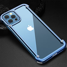Luxury Aluminum Metal Frame Cover Case N04 for Apple iPhone 12 Pro Max Blue