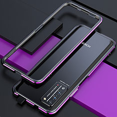 Luxury Aluminum Metal Frame Cover Case T01 for Huawei Honor X10 5G Purple and Blue