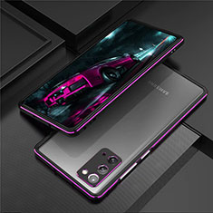 Luxury Aluminum Metal Frame Cover Case T01 for Samsung Galaxy Note 20 5G Purple