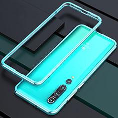 Luxury Aluminum Metal Frame Cover Case T01 for Xiaomi Mi 10 Pro Cyan