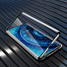 Luxury Aluminum Metal Frame Mirror Cover Case 360 Degrees A01 for Oppo Find X2 Pro Black