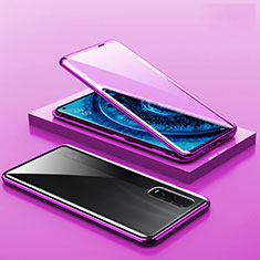 Luxury Aluminum Metal Frame Mirror Cover Case 360 Degrees A02 for Oppo Find X2 Pro Purple