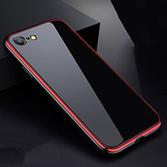 Luxury Aluminum Metal Frame Mirror Cover Case 360 Degrees for Apple iPhone SE (2020) Red and Black