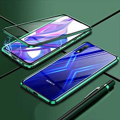 Luxury Aluminum Metal Frame Mirror Cover Case 360 Degrees for Huawei Enjoy 10 Green
