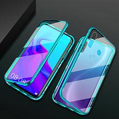Luxury Aluminum Metal Frame Mirror Cover Case 360 Degrees for Huawei Enjoy 10 Plus Green