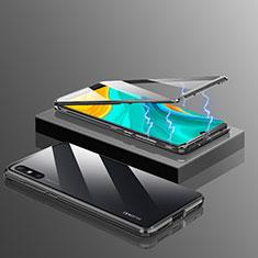 Luxury Aluminum Metal Frame Mirror Cover Case 360 Degrees for Huawei Enjoy 10e Black