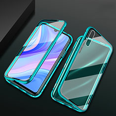 Luxury Aluminum Metal Frame Mirror Cover Case 360 Degrees for Huawei Enjoy 10S Green