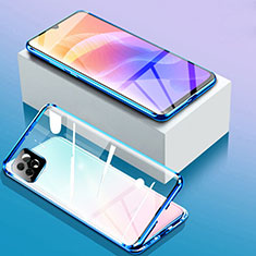 Luxury Aluminum Metal Frame Mirror Cover Case 360 Degrees for Huawei Enjoy 20 5G Blue