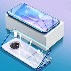 Luxury Aluminum Metal Frame Mirror Cover Case 360 Degrees for Huawei Enjoy 20 Plus 5G Blue