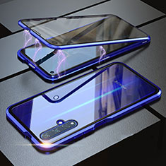 Luxury Aluminum Metal Frame Mirror Cover Case 360 Degrees for Huawei Honor 20 Blue