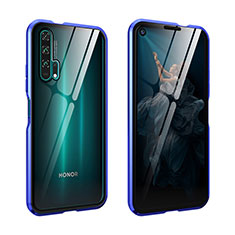 Luxury Aluminum Metal Frame Mirror Cover Case 360 Degrees for Huawei Honor 20 Pro Blue