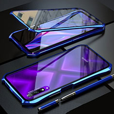 Luxury Aluminum Metal Frame Mirror Cover Case 360 Degrees for Huawei Honor 9X Pro Blue