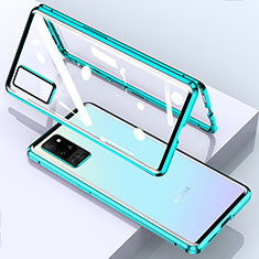 Luxury Aluminum Metal Frame Mirror Cover Case 360 Degrees for Huawei Honor Play4 Pro 5G Cyan