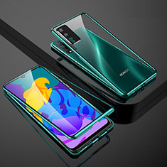 Luxury Aluminum Metal Frame Mirror Cover Case 360 Degrees for Huawei Honor Play4T Pro Green
