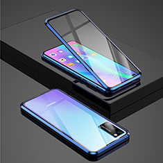 Luxury Aluminum Metal Frame Mirror Cover Case 360 Degrees for Huawei Honor View 30 Pro 5G Blue