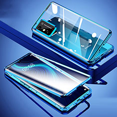 Luxury Aluminum Metal Frame Mirror Cover Case 360 Degrees for Huawei Honor X10 Max 5G Blue