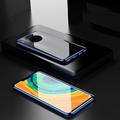 Luxury Aluminum Metal Frame Mirror Cover Case 360 Degrees for Huawei Mate 30 Pro 5G Blue