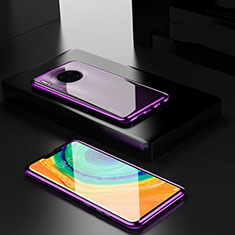 Luxury Aluminum Metal Frame Mirror Cover Case 360 Degrees for Huawei Mate 30 Pro 5G Purple