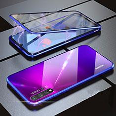 Luxury Aluminum Metal Frame Mirror Cover Case 360 Degrees for Huawei Nova 5 Pro Blue