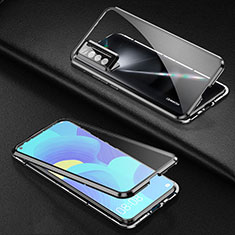 Luxury Aluminum Metal Frame Mirror Cover Case 360 Degrees for Huawei Nova 7 5G Black